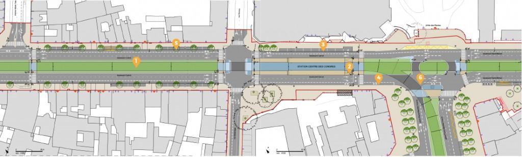 1- Circulation en site propre<br> 2- Les stations<br> 3- Le stationnement<br> 4- Les circulations douces<br> 5- Le patrimoine végétal<br> 6- Les carrefours